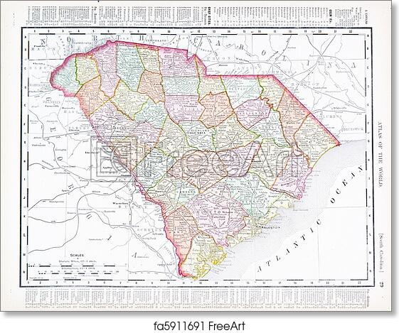 graphic relating to Printable Map of South Carolina titled Cost-free artwork print of Antique Map of South Carolina SC United Suggests United states